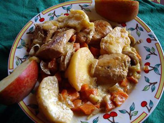 recette Fricassée de poulet aux pommes