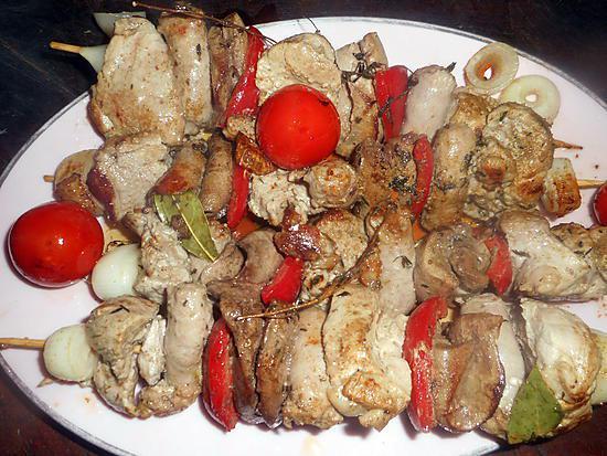 recette Brochettes au porc,rognons,chipolatas
