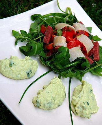 recette Mouuse d'avocats à la coriandre et sa salade