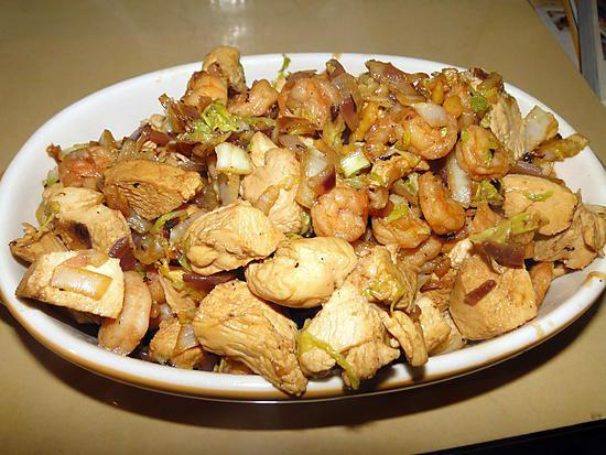 recette Chou chinois sauté aux crevettes et poulet au gingembre