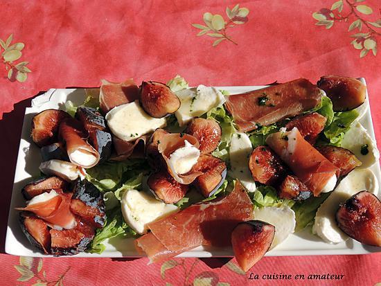 recette Salade de figues, jambon de pays, mozzarella et vinaigre de figues