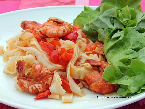 recette Crevettes flambées au Pastis et tagliatelles de riz