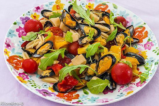 recette de salade de p 226 tes aux poivrons et aux moules
