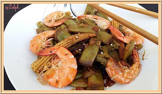 recette Wok de crevettes aux Haricots mange-tout et petits maïs