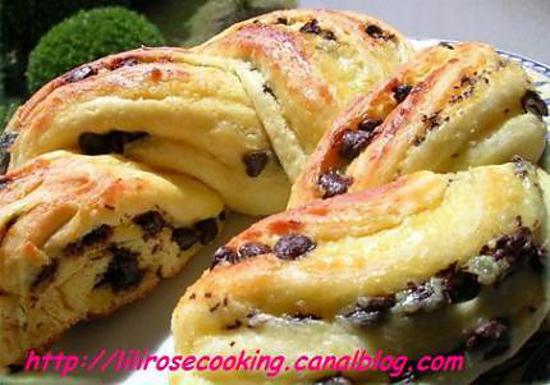 recette Brioche torsadée aux pépites de chocolat et crème pâtissière