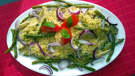 recette Poêlée de boulgour au poulet et aux asperges