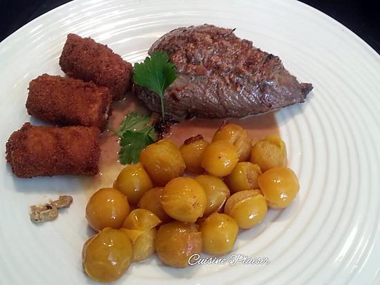 recette Steaks d'autruche moutardée aux poivres roses-noir, sauce crème