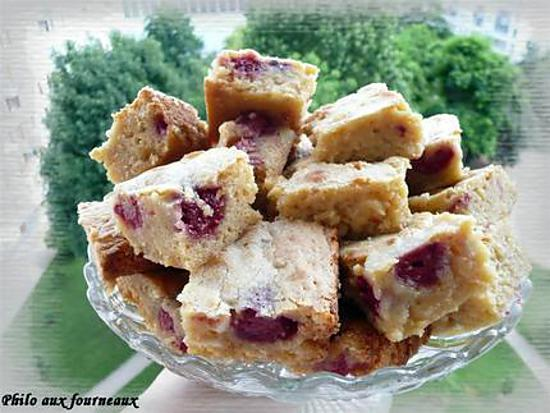 recette Brownies au chocolat blanc & aux framboises