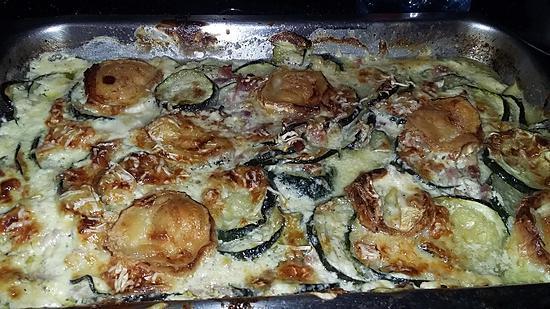 recette Gratin de courgettes au jambon et au chèvre
