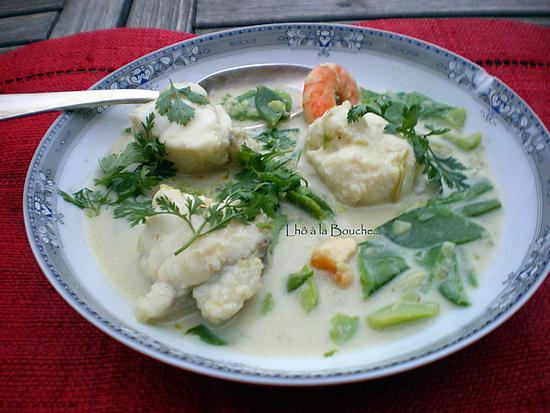 recette Nage de Lotte et St Jacques en curry vert...
