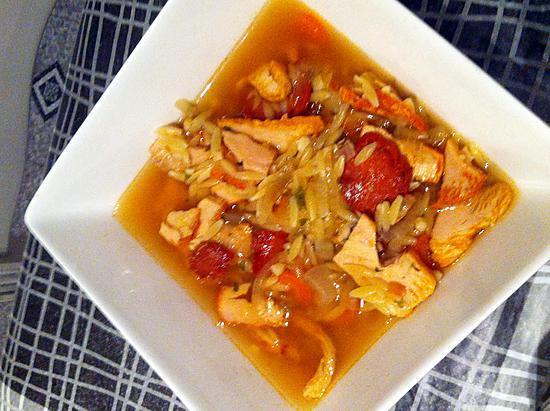 recette Soupe aux avoines, poulet et chorizo