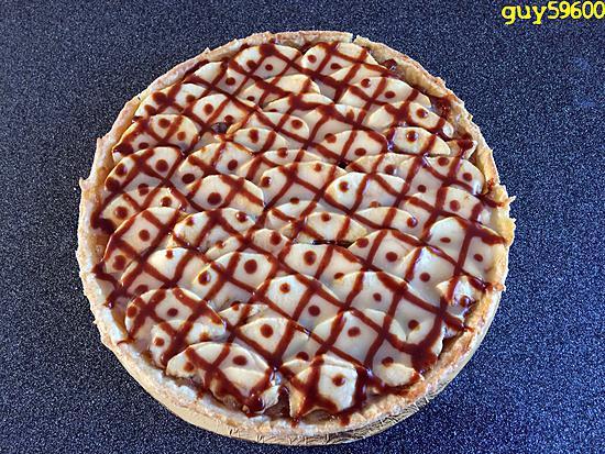 recette tarte compote de pommes et pommes en garniture au sirop d'érable et caramel beurre salé