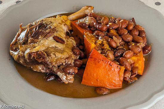 recette Mijoté de haricots borlotto au confit de canard et potimarron