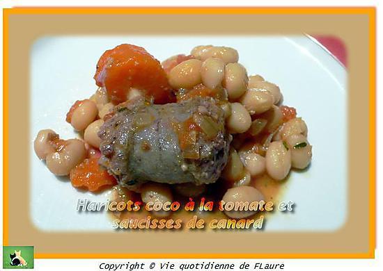 recette de haricots coco la tomate et saucisses de canard. Black Bedroom Furniture Sets. Home Design Ideas