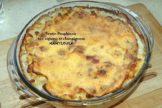 recette Gratin Dauphinois aux oignons et champignons.