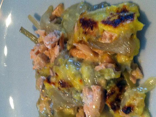 recette Gratin de saumon au fenouil braise et sauce safranée