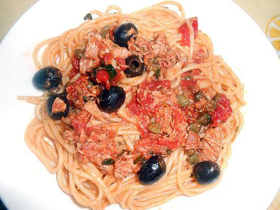 recette de spaghetti thon olives capres et cornichon. Black Bedroom Furniture Sets. Home Design Ideas