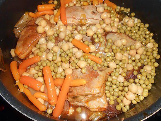 recette POITRINE D'AGNEAU POIS CHICHES ET PETITS POIS CAROTTES