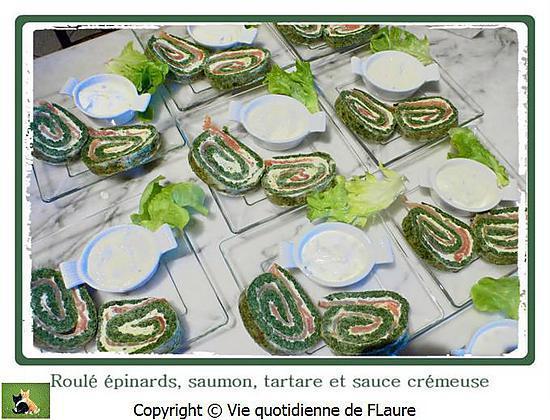recette Roulé épinards, saumon, tartare et sauce crémeuse