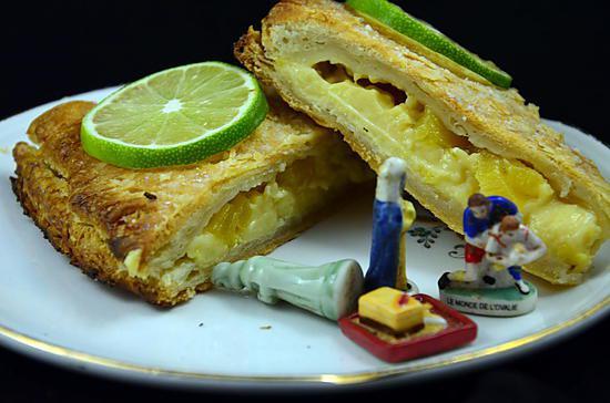 recette GALETTE DES ROIS A L'ANANAS RÔTI, CANNELLE ET CITRON VERT