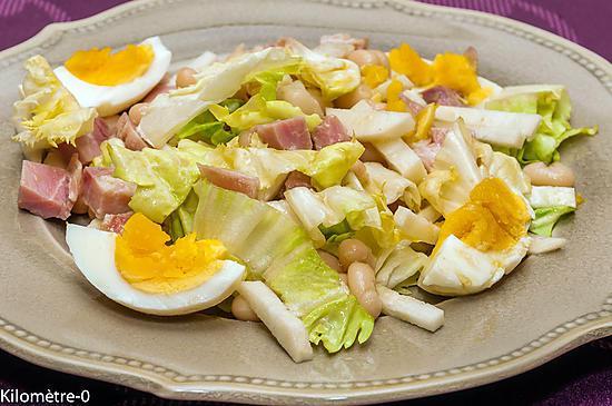 recette Salade de haricots blancs au jambon, oeufs et radis noir