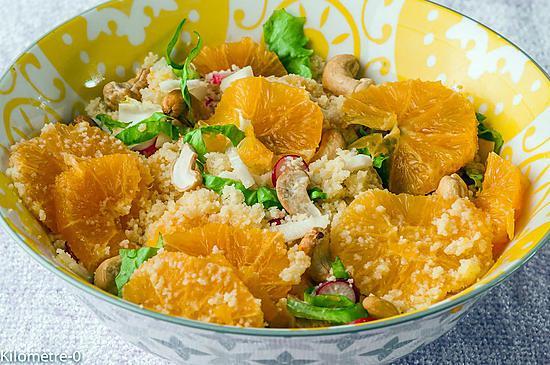 recette Salade de semoule à l'orange, aux radis et  noix de cajou