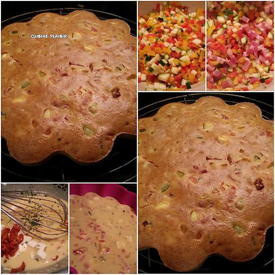 recette de cake sal courgette poivron tomate s ch e feta. Black Bedroom Furniture Sets. Home Design Ideas