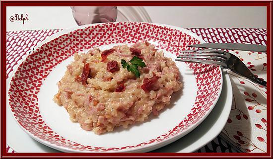recette de risotto au jambon et tomates s ch es. Black Bedroom Furniture Sets. Home Design Ideas