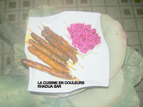 recette Brochettes de merguez au four/betteraves au fromage de brebis