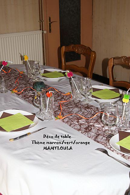 Recette de d co de table th me marron vert orange for Deco de table orange