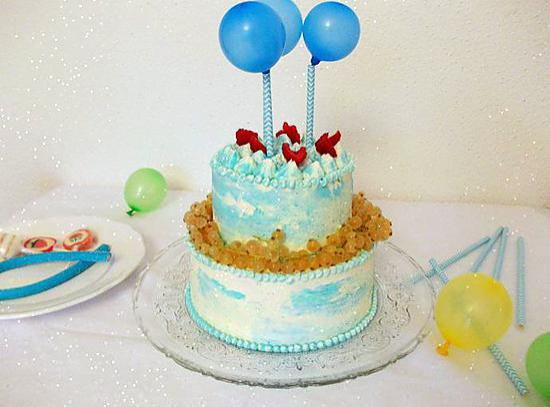 recette Layer cake aux ballons citron framboise