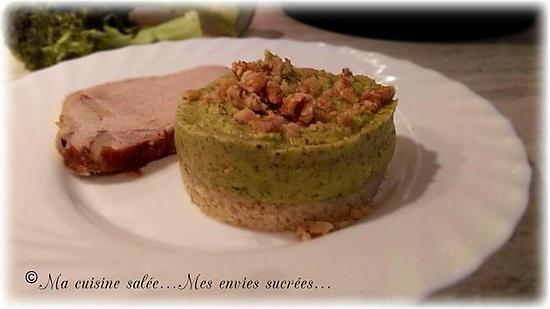 recette PUREE DE BROCOLIS SUR LIT DE BOULGOUR