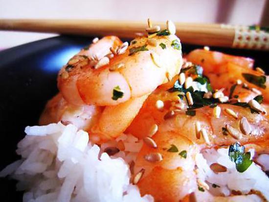 recette Crevettes sautées ail et curry