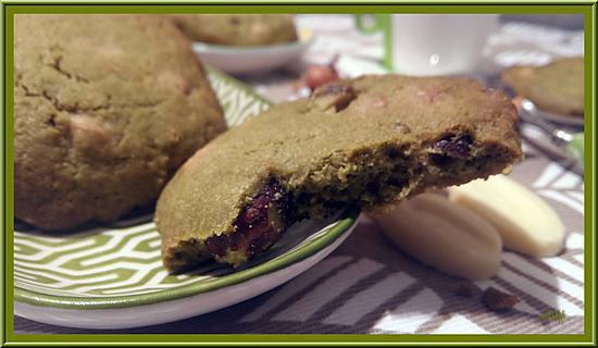 recette Cookies Thé Matcha, chocolat blanc et noisettes