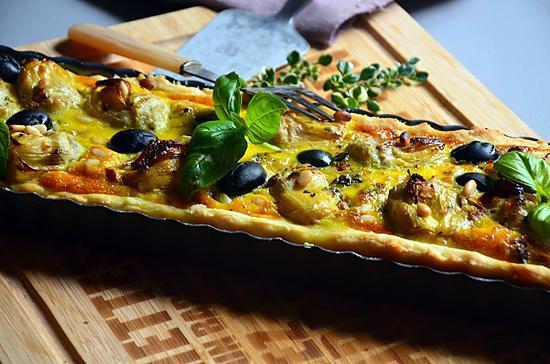 recette Tarte aux cœurs d'artichauts sur tapenade d'olives noires et pesto au robot Kenwood Prospero