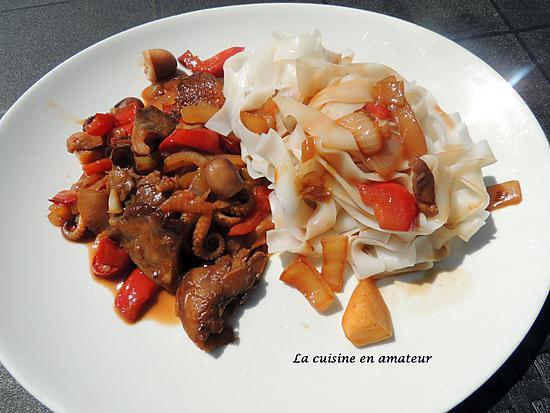 recette Légumes sautés , calamars à la sauce soja