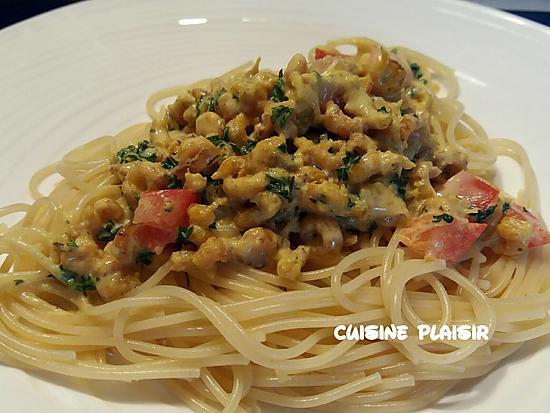 recette Spaghetti aux crevettes grises sauce curry