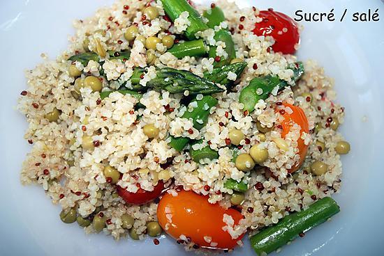 recette Salade de quinoa/boulgour aux asperges ,petits pois et tomates cerises