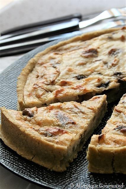 recette Tarte pesto, champignons, ricotta, Bio, sans gluten, sans oeufs