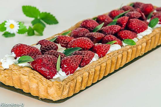 recette Tarte à la chantilly, aux fraises et au basilic