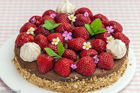 recette Cheesecake à la mousse au chocolat et aux fraises