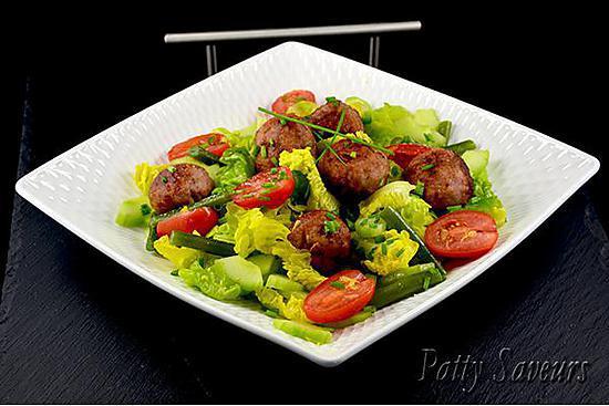 recette Boulettes de Saucisse Italienne, Salade Mixte