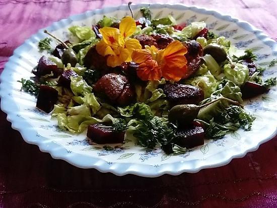 recette d 39 assiette foies confits fleurs de capucines de capres betterave salade. Black Bedroom Furniture Sets. Home Design Ideas