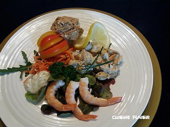 recette Assiette froide avec des restes de moules et scampi cuits
