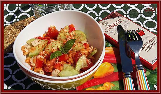 recette Salade de Blé au Poulet, Poivron, Tomates et Basilic