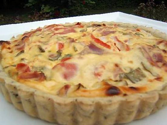 recette Tarte salée à la ricotta et jambon sec d'auvergne sur une pate brisée à l'origan