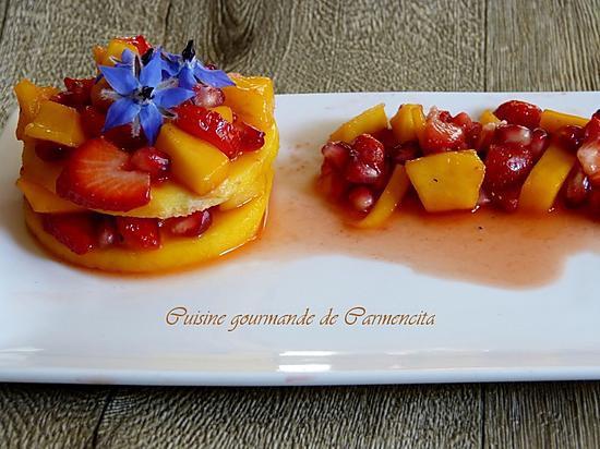 recette Raviole de mangue tartare de fraises et grenade
