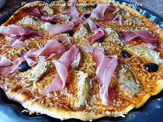 recette Pizza artichaut et jambon speck à l'emmental