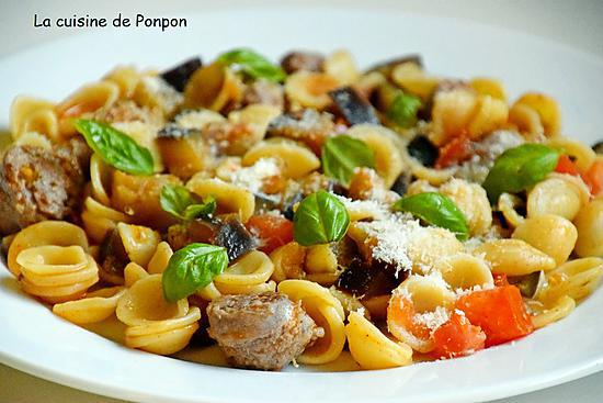 recette Orecchiette, saucisse et aubergine
