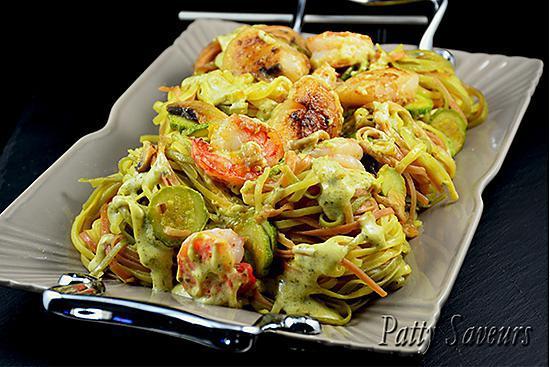 recette Tagliolini Tricolores – St-Jacques et Crevettes, Sauce Pesto